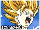 Figlio di Goku e Chichi, all'inizio della serie Z avrà solamente 4 anni, ma già aiuterà suo padre nel combattimento con Raditz che era venuto sulla Terra in cerca del fratello Goku. Durante la serie si allenerà con Piccolo e saranno ottimi amici, sarà lui che affronterà Cell nel Cell Game e lo ucciderà con una potentissima Kamehameha. Nella serie di Majin Buu arriverà anche allo stadio di Saiyan Mystic e sposerà Videl avendo così poi anche una figlia di nome Pan.